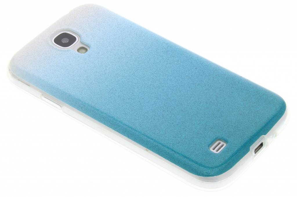 Turquoise glitter TPU softcase voor de Samsung Galaxy S4