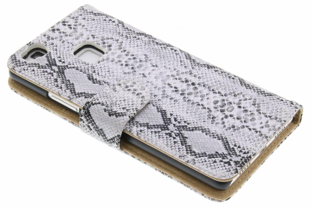 Witte slangenprint booktype hoes voor de Huawei P9 Lite