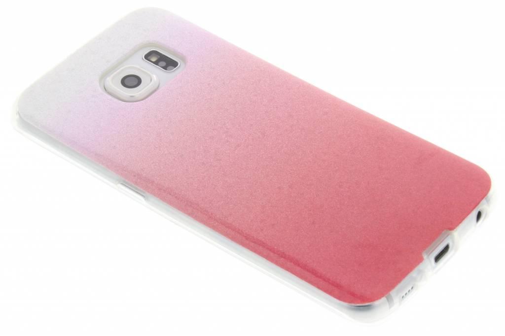 Roze glitter TPU softcase voor de Samsung Galaxy S6 Edge