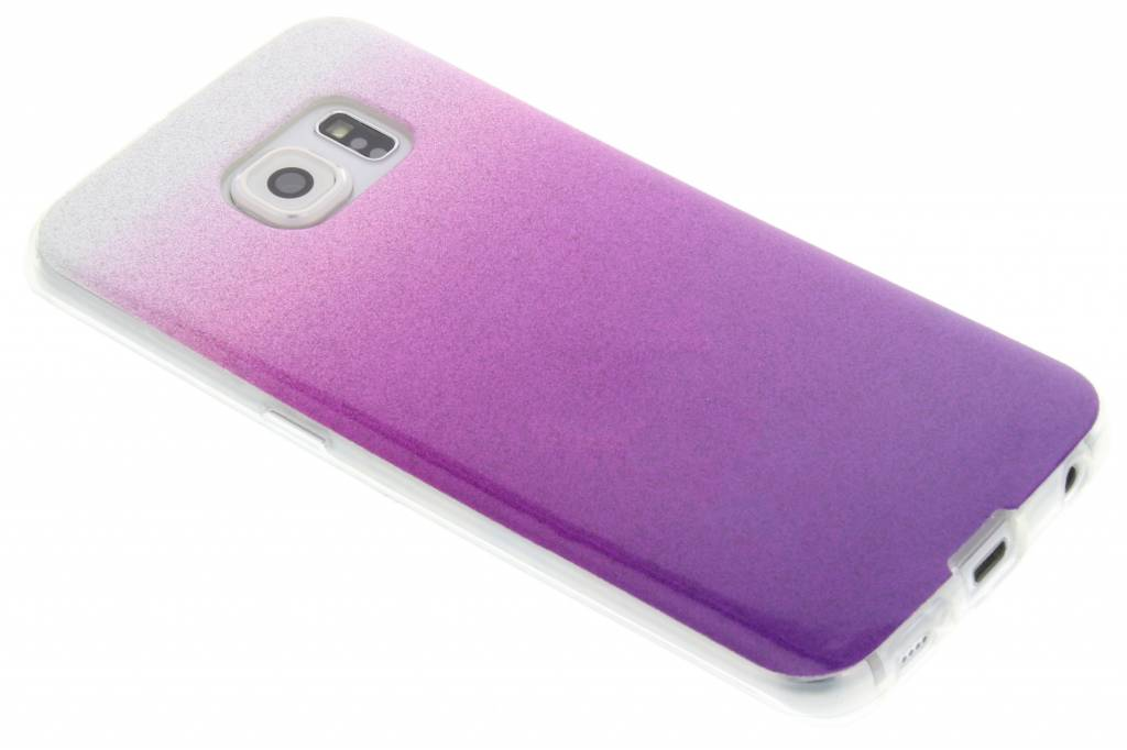 Paarse glitter TPU softcase voor de Samsung Galaxy S6 Edge
