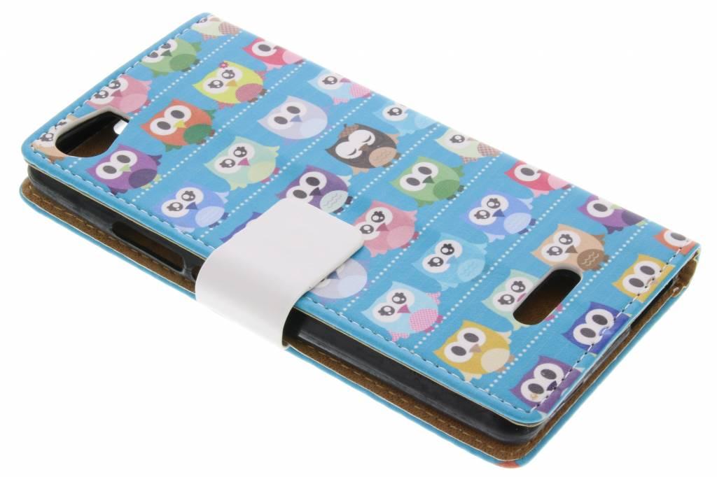 Owl Family design TPU booktype hoes voor de Wiko Fever 4G
