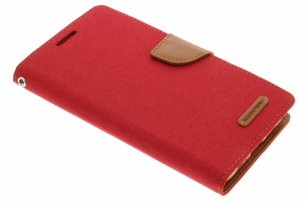 Mercury Goospery Canvas Diary Case voor de Samsung Galaxy S6 Edge Plus - Rood