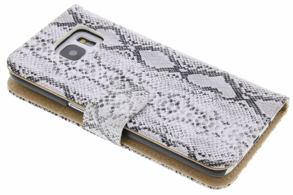 Witte slangenprint booktype hoes voor de Samsung Galaxy S7 Edge