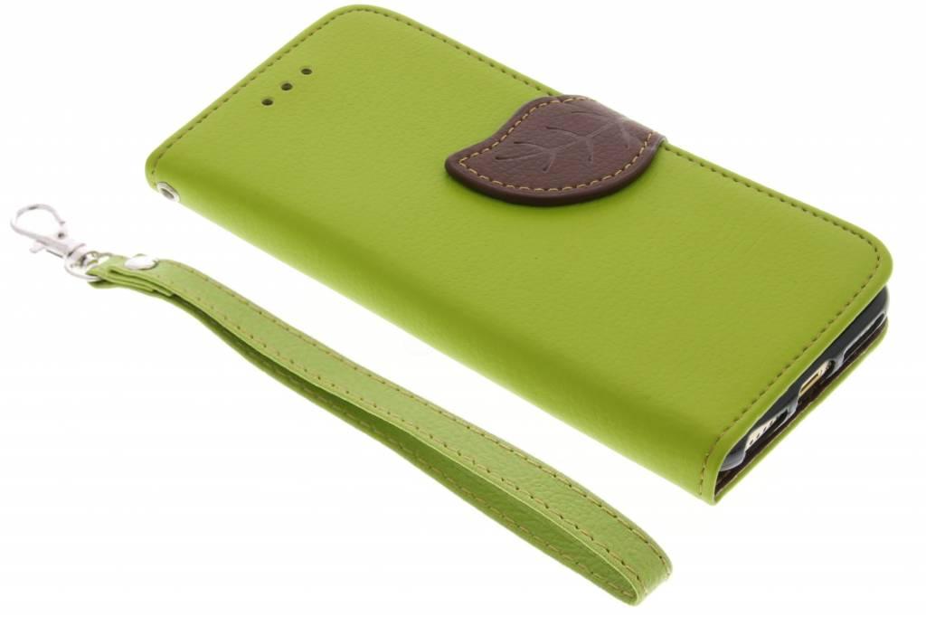 Groene blad design TPU booktype hoes voor de iPhone 8 / 7