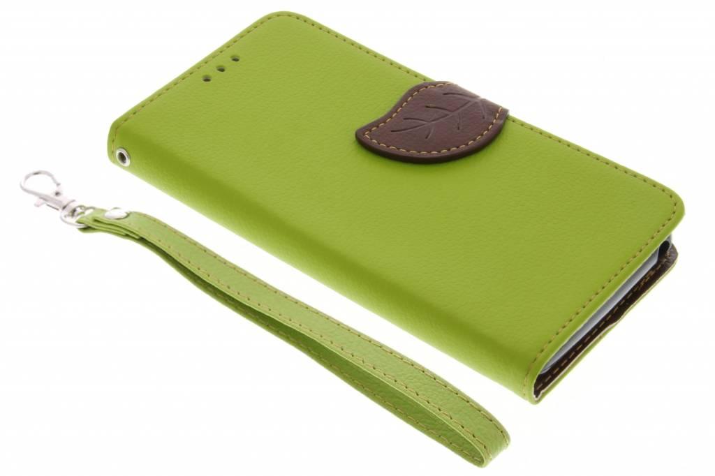 Groene blad design TPU booktype hoes voor de Wiko Lenny 3
