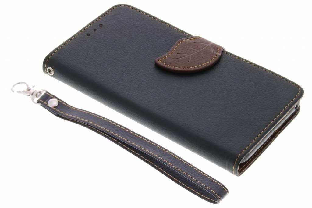 Zwarte Blad design TPU booktype hoes voor de Wiko Lenny 2