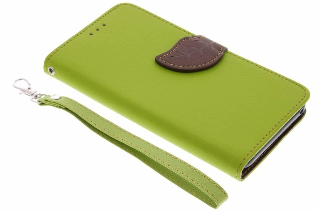 Groene blad design TPU booktype hoes voor de Wiko Lenny 2