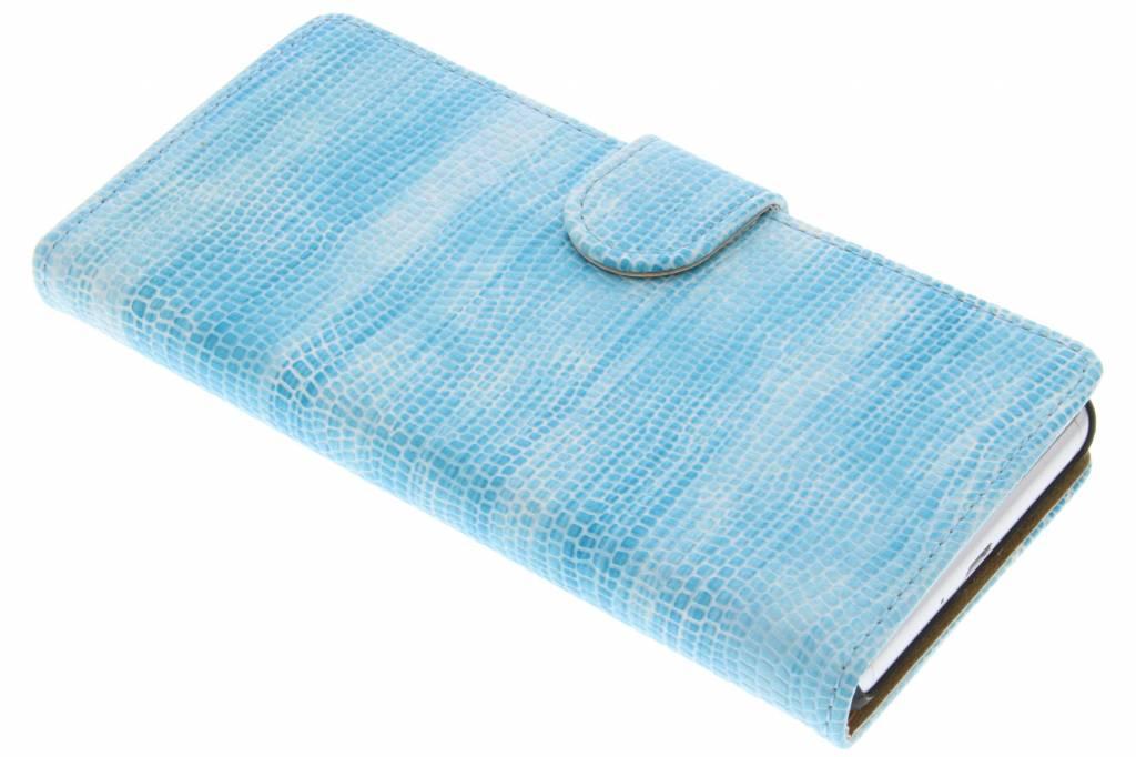Turquoise hagedis design booktype hoes voor de Sony Xperia X Performance