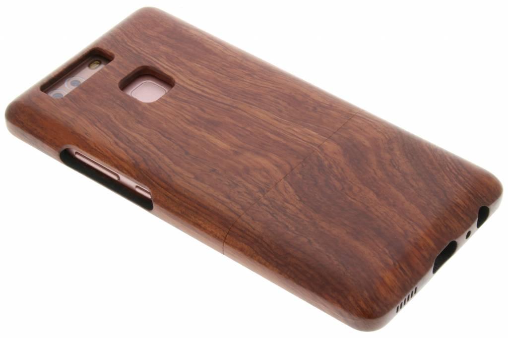Donkerbruin echt houten hardcase hoesje voor de Huawei P9