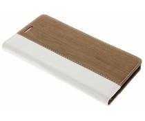 Hout leder design booktype hoes OnePlus 3