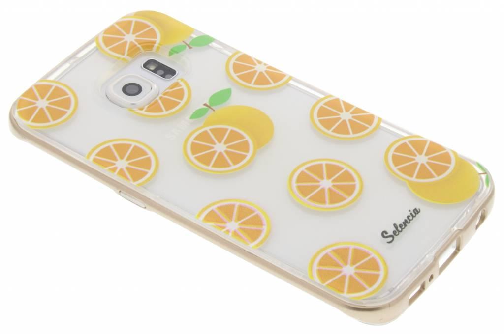 Selencia Foodies Orange TPU hoesje voor de Samsung Galaxy S6 Edge