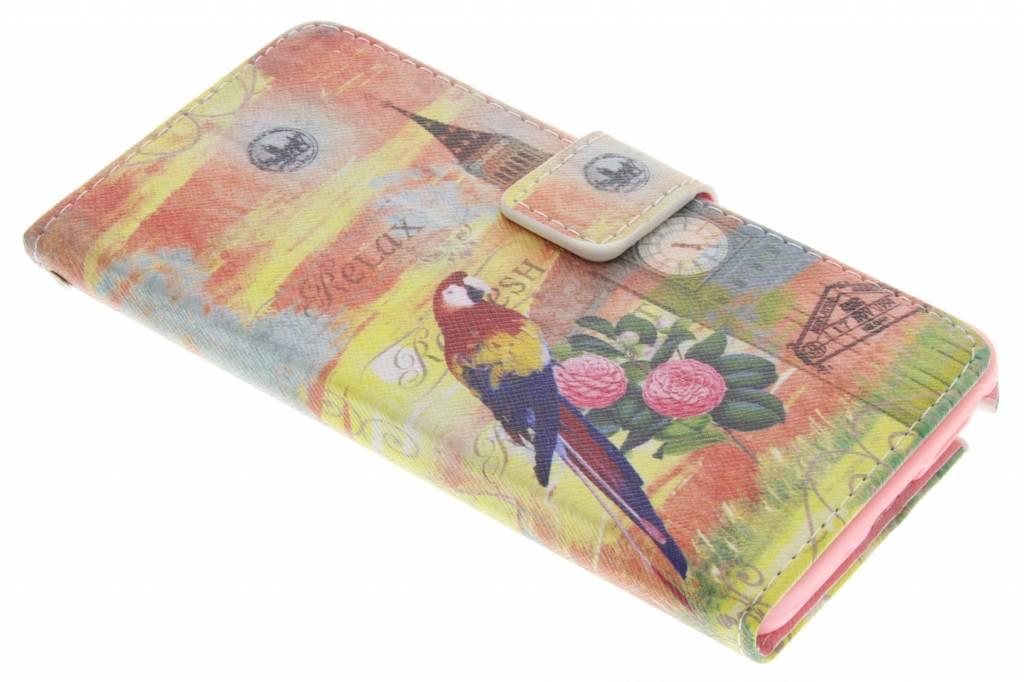 Big Ben papegaai design TPU booktype hoes voor de Samsung Galaxy Note 3