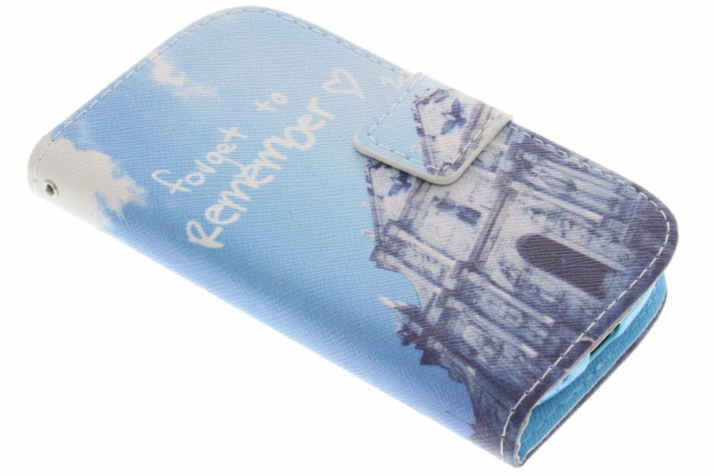 Forget to remember design TPU booktype hoes voor de Samsung Galaxy S3 Mini