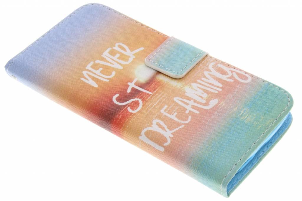 Never stop dreaming design TPU booktype hoes voor de LG G2