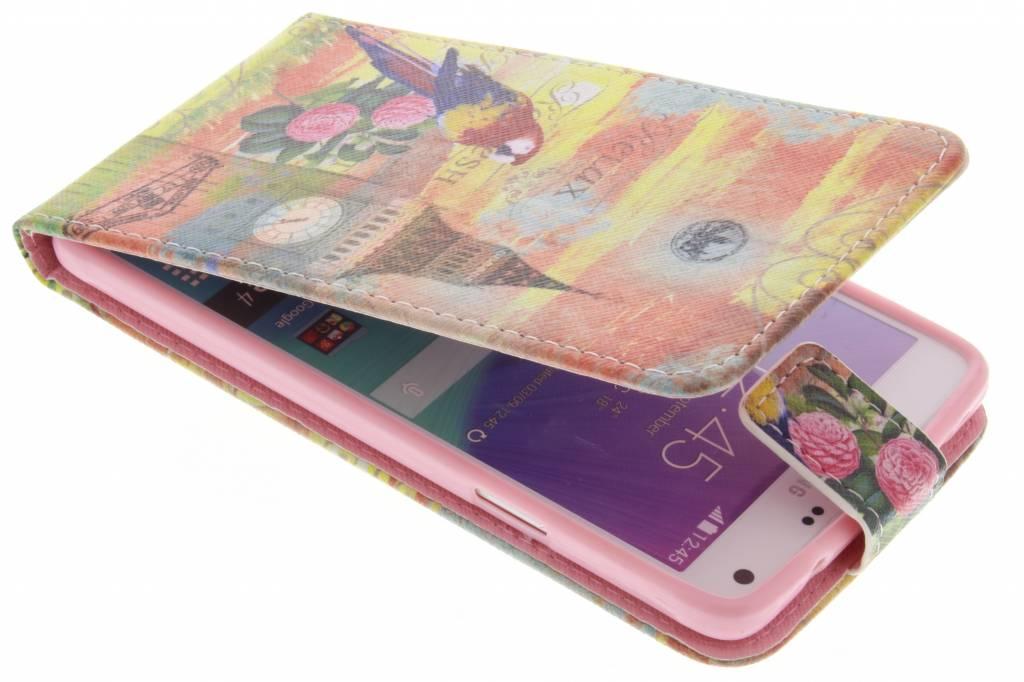 Big Ben papegaai design TPU flipcase voor de Samsung Galaxy Note 4