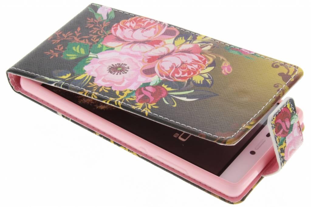 Bloemen design TPU flipcase voor de Huawei P8