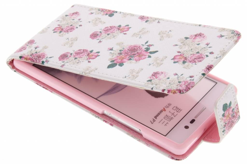 Roosjes design TPU flipcase voor de Huawei Ascend P7