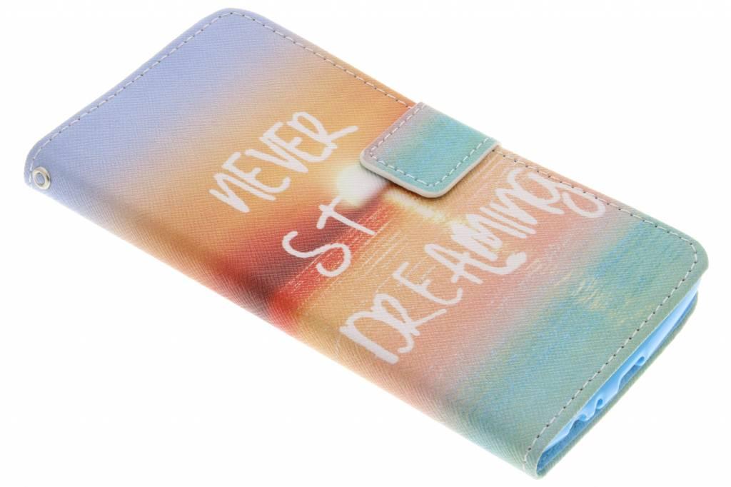 Never stop dreaming design TPU booktype hoes voor de LG G4