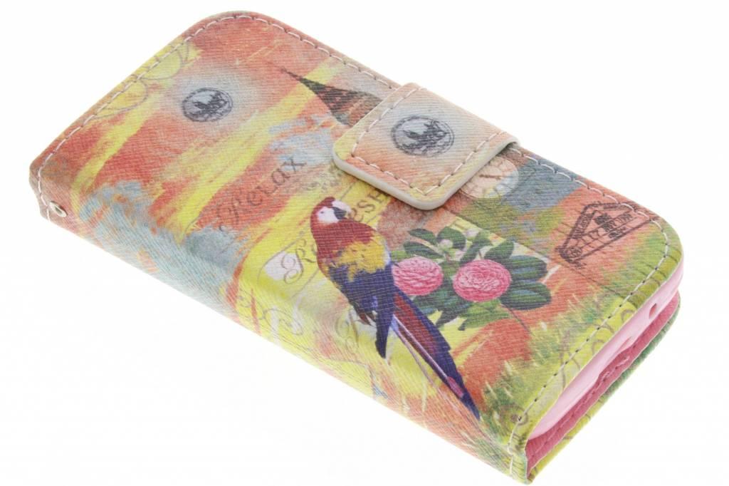 Big Ben papegaai design TPU booktype hoes voor de Samsung Galaxy Young 2