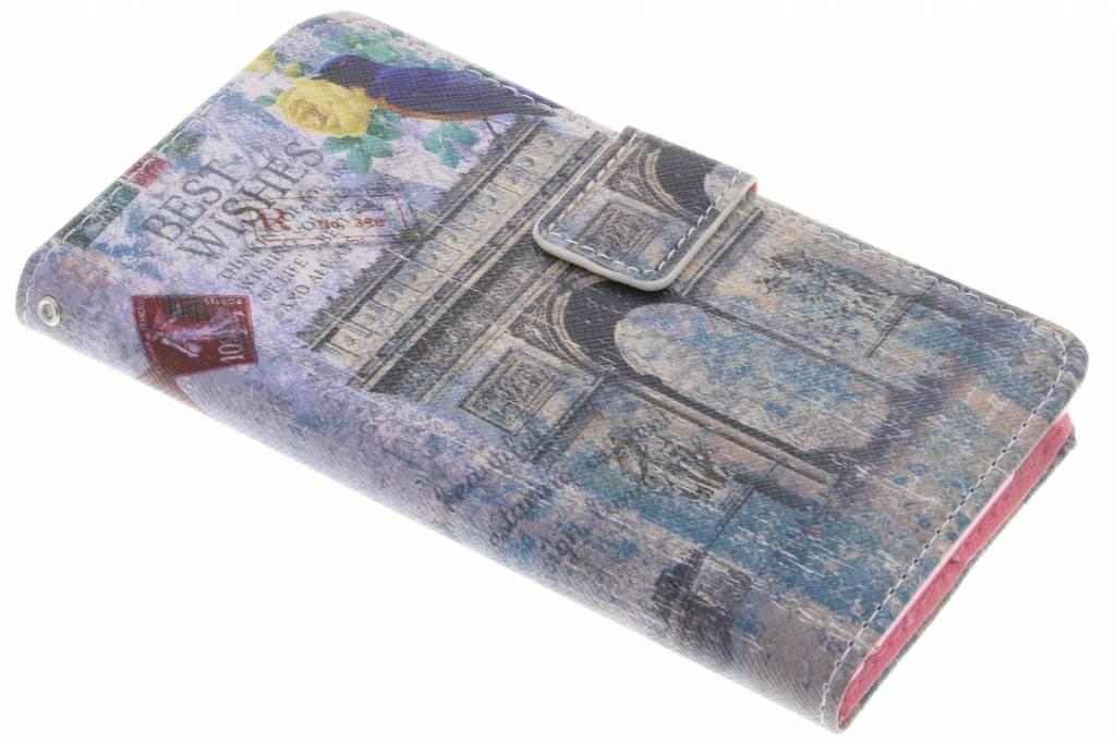Arc de Triomphe best wishes design TPU booktype hoes voor de Sony Xperia M4 Aqua