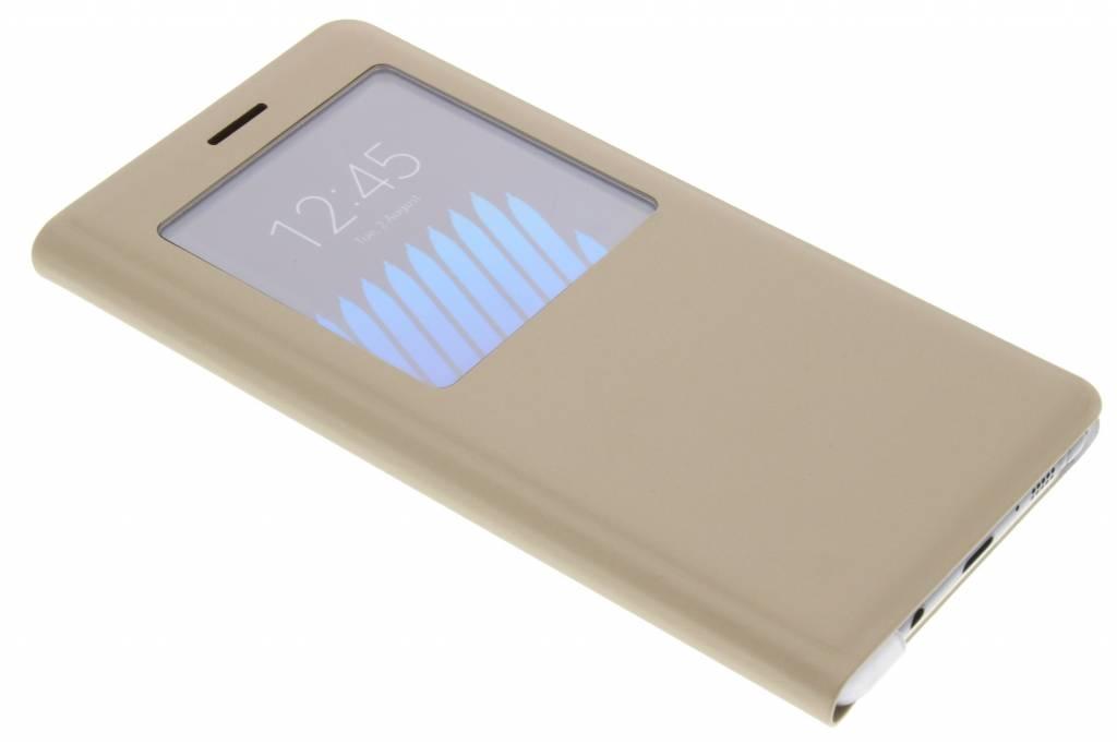 Gouden luxe slim booktype hoes met venster voor de Samsung Galaxy Note 7