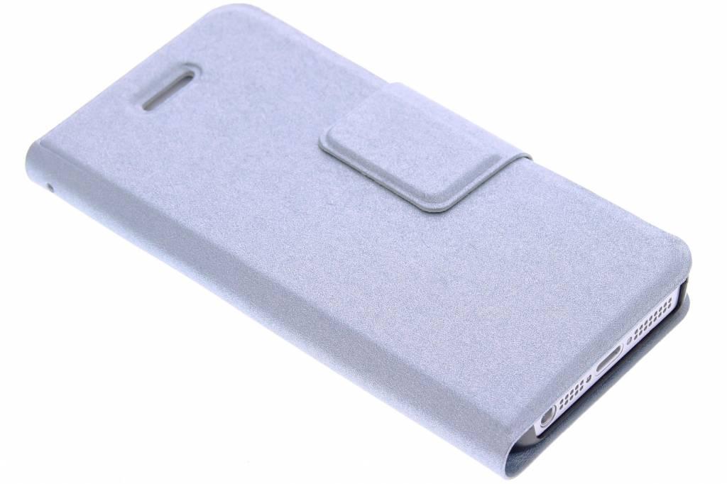 Lichtblauwe glanzende elegante booktype hoes voor de iPhone 5 / 5s / SE