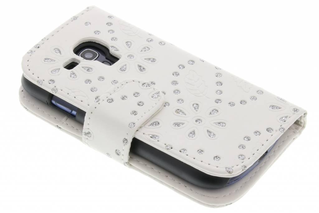 Witte bloemblad design booktype hoes voor de Samsung Galaxy S3 Mini