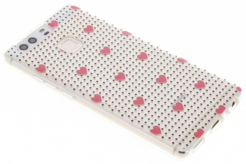 Pink dots and hearts design TPU hoesje voor de Huawei P9