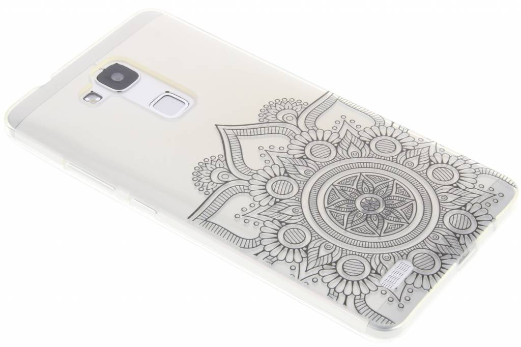 Zwart mandala design TPU hoesje voor de Huawei Ascend Mate 7