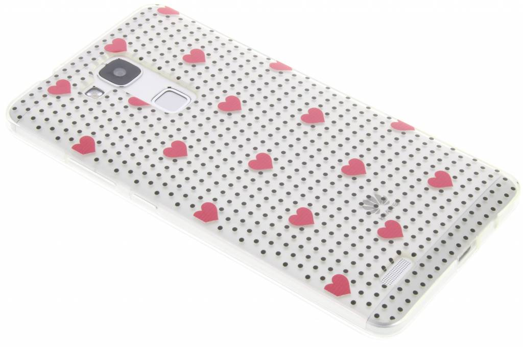 Pink dots and hearts design TPU hoesje voor de Huawei Ascend Mate 7