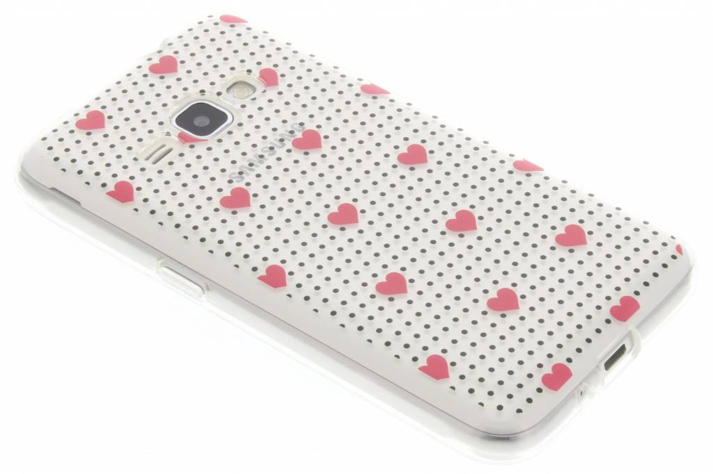 Pink dots and hearts design TPU hoesje voor de Samsung Galaxy J1 (2016)