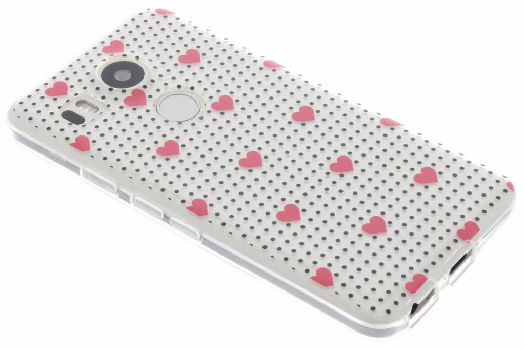 Pink dots and hearts design TPU hoesje voor de LG Nexus 5X