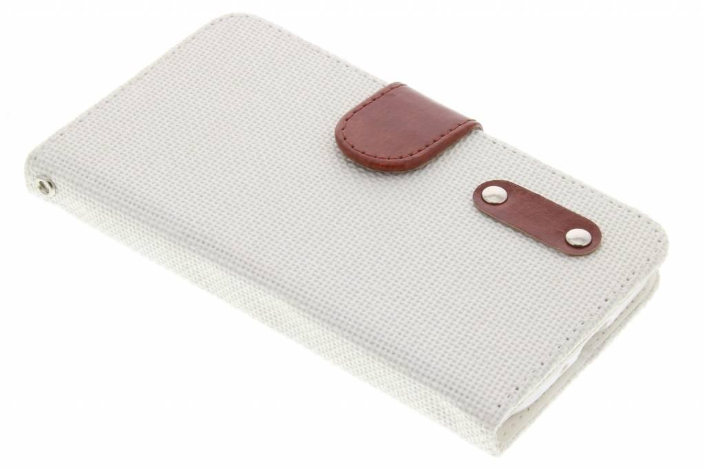 Witte linnen look TPU booktype hoes voor de Samsung Galaxy J1