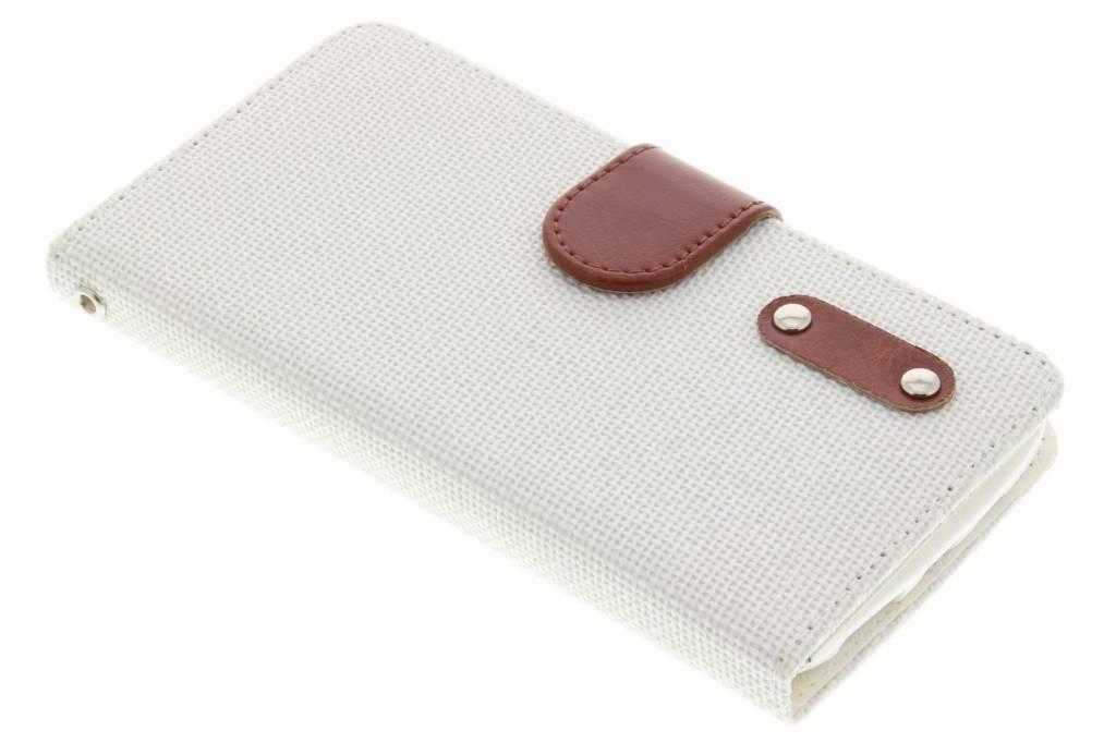 Witte linnen look TPU booktype hoes voor de Samsung Galaxy Core