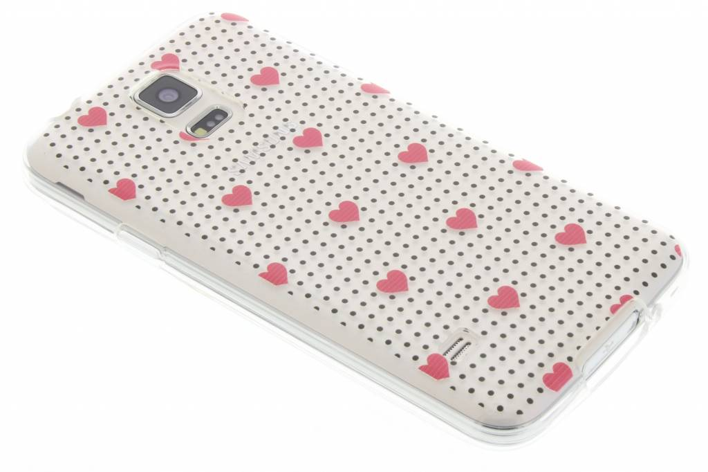 Pink dots and hearts design TPU hoesje voor de Samsung Galaxy S5 (Plus) / Neo