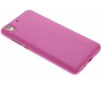 Roze metallic lederen TPU case Huawei Y6 2