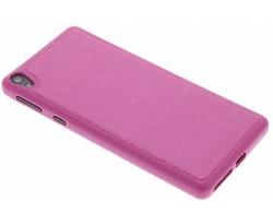 Roze metallic lederen TPU case Sony Xperia E5