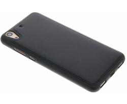 Zwart lederen TPU case Huawei Y6 2