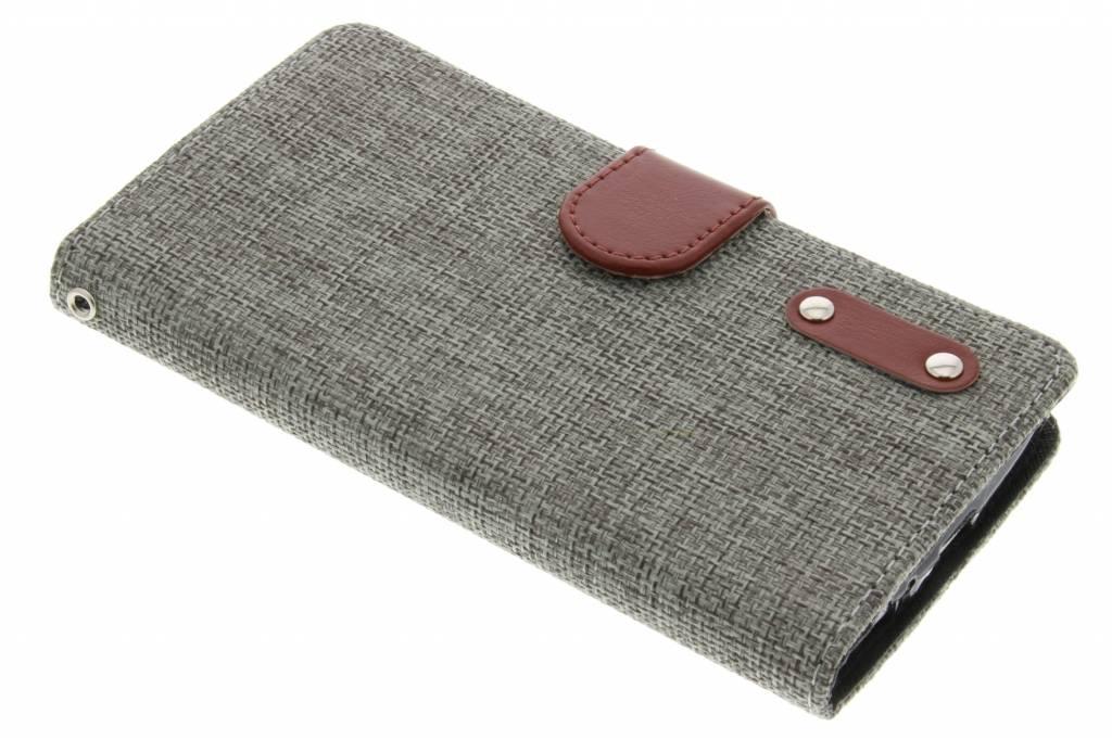 Donkergrijze linnen look TPU booktype hoes voor de Alcatel One Touch Pop C7