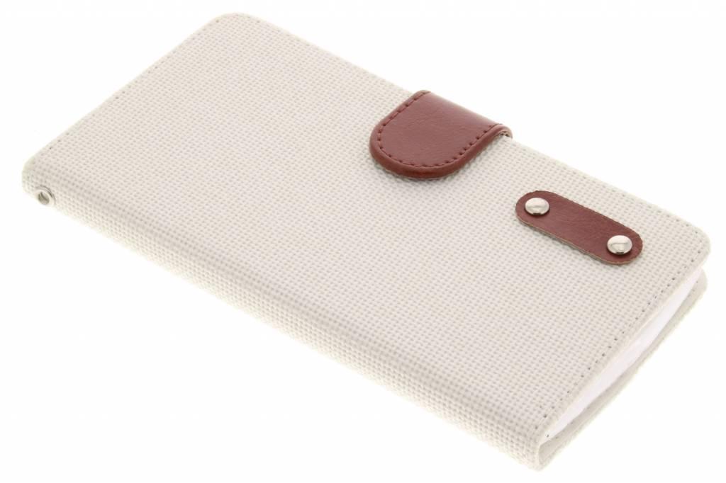 Witte linnen look TPU booktype hoes voor de Huawei Ascend G6