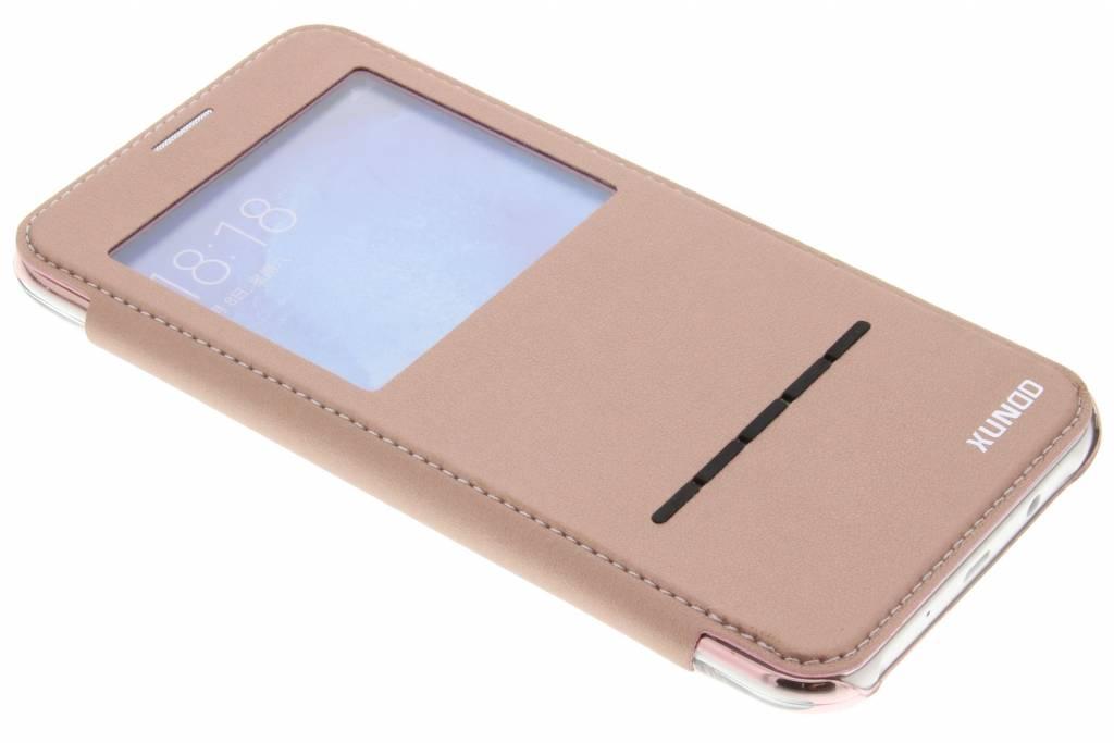 Roze crystal slim book case met venster voor de Samsung Galaxy J7