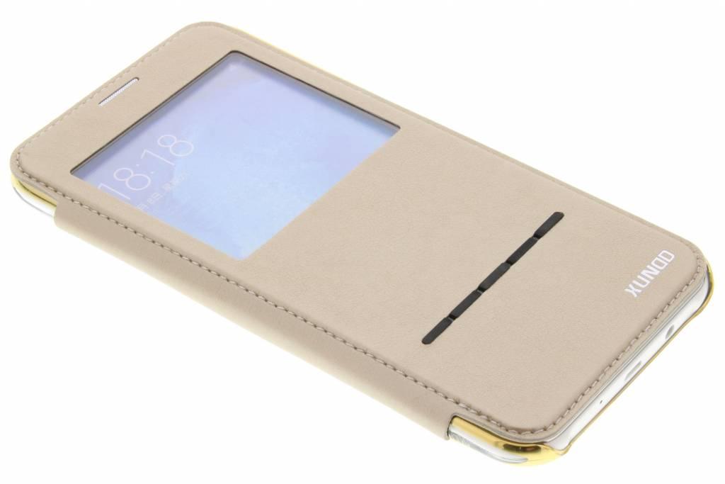 Gouden crystal slim book case met venster voor de Samsung Galaxy J7