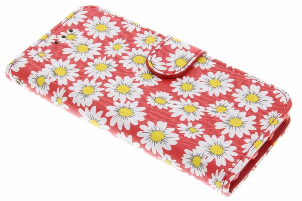 Rode met witte bloemetjes daisy TPU booktype hoes voor de iPhone 7