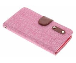 Roze linnen look TPU booktype hoes LG G2