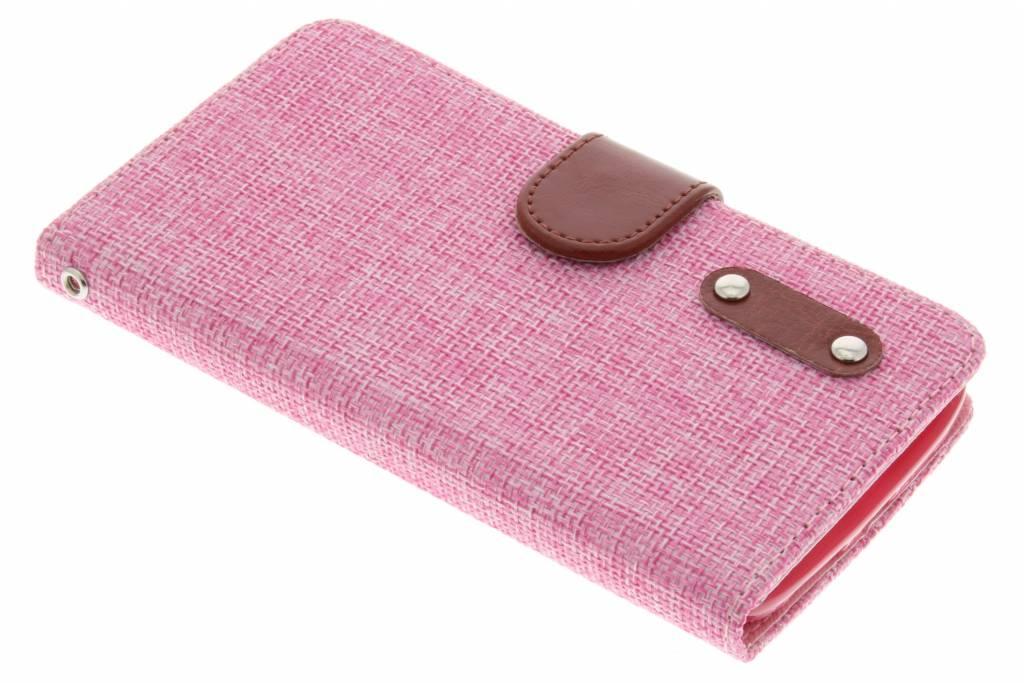 Roze linnen look TPU booktype hoes voor de LG G2