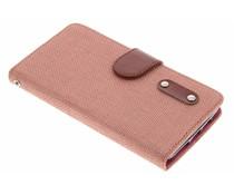 Zalmroze linnen look TPU booktype hoes LG G2