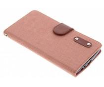 Zalmroze linnen look TPU booktype hoes LG G4