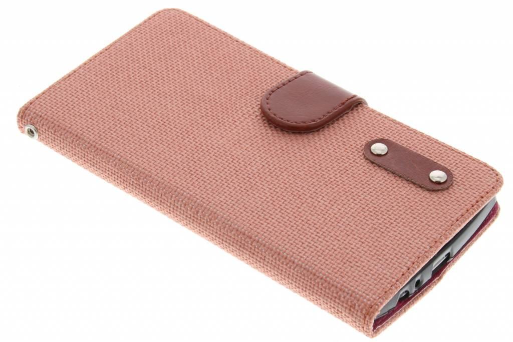 Zalmroze linnen look TPU booktype hoes voor de LG G4