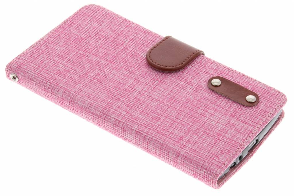 Roze linnen look TPU booktype hoes voor de LG G4
