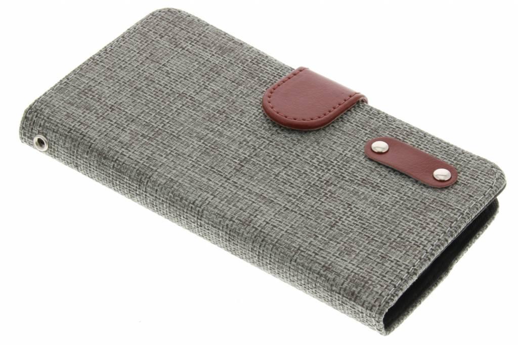 Lichtgrijze linnen look TPU booktype hoes voor de LG Magna / G4c